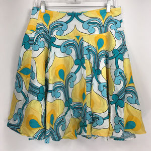 Cache 10 Skirt A-Line Teal Blue Yellow Floral